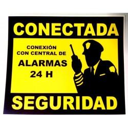 Cartel Pegatina Vinilo Alarma Conectada 15x18cm
