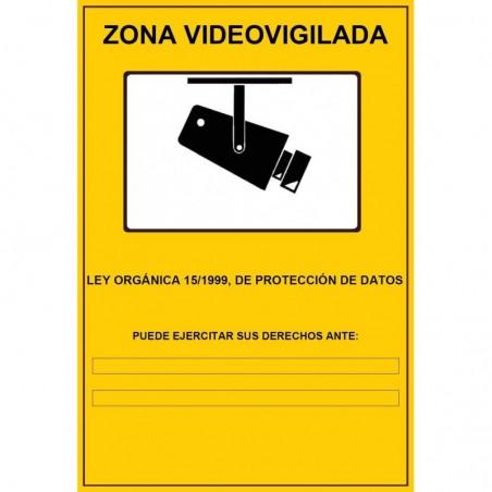 Cartel Pegatina Vinilo Zona Videovigilada 14x20cm
